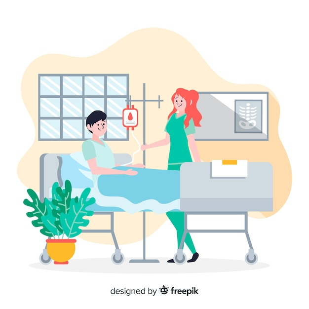 Hand drawn nurse helping patient background Free Vector