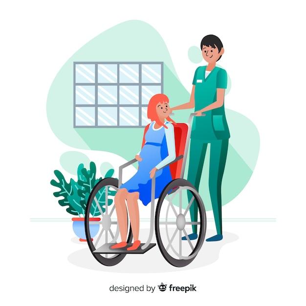 Hand drawn nurse helping patient background Free Vector