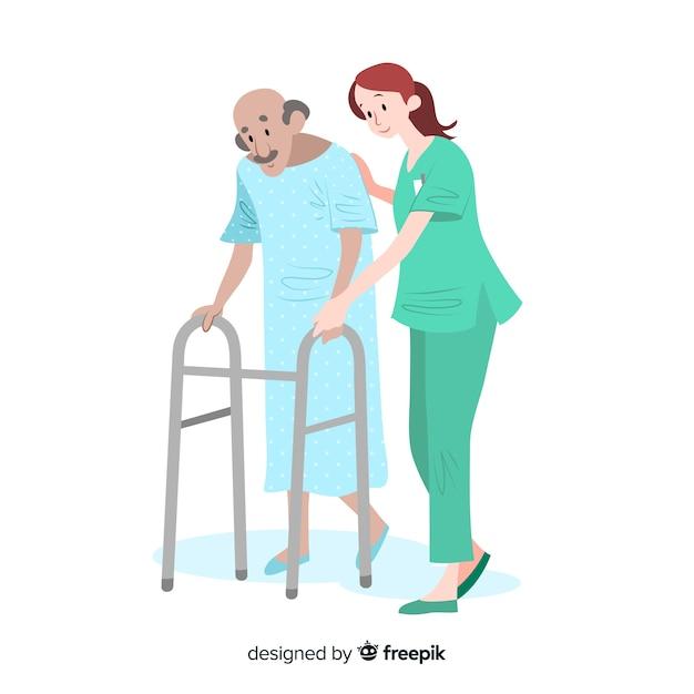 Hand drawn nurse helping patient Free Vector