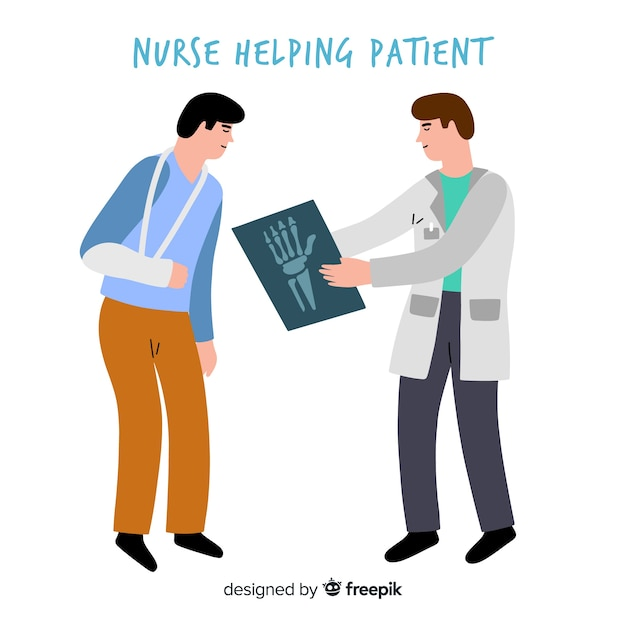 Hand drawn nurse helping patient Free Vector