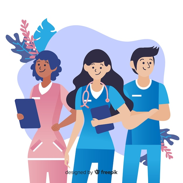 Hand drawn nurse team background Free Vector