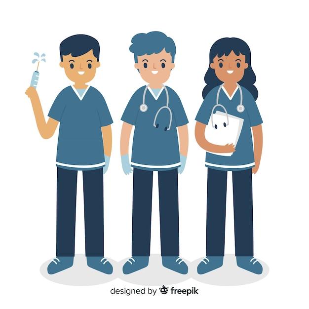 Hand drawn nurse team collection Free Vector