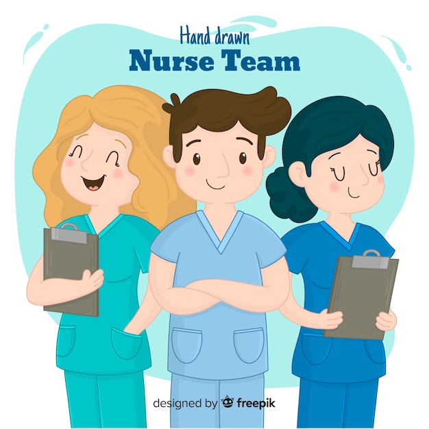 Hand drawn nurse team Free Vector