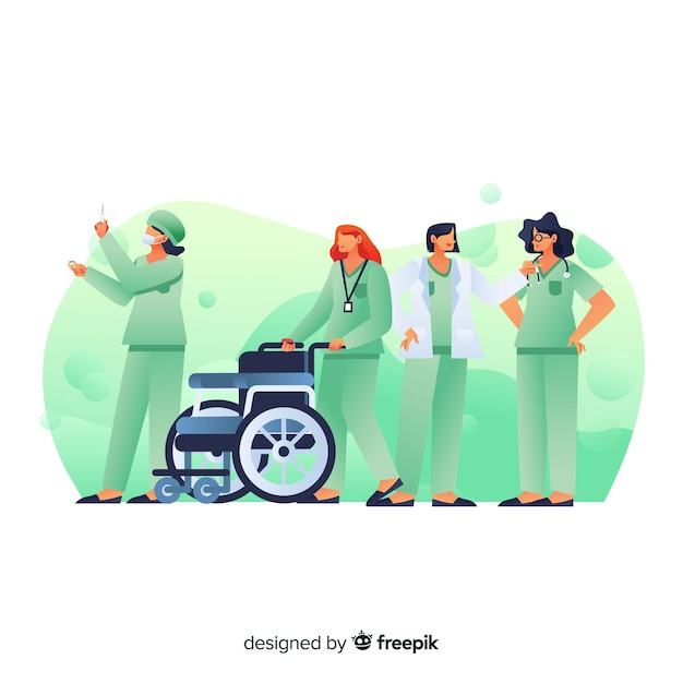 Hand drawn nurse team Free Vector