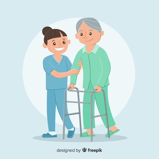 Hand drawn nurse with patient Free Vector