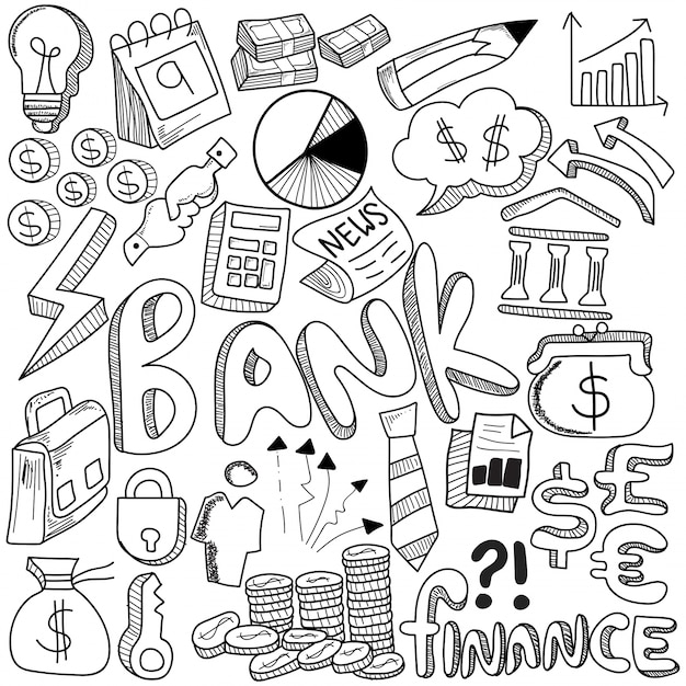 Hand drawn of banking and media strategy doodles elements Premium Vector
