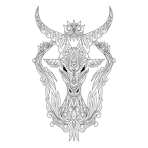 Zentangleスタイルの鹿の頭の手描き Premiumベクター