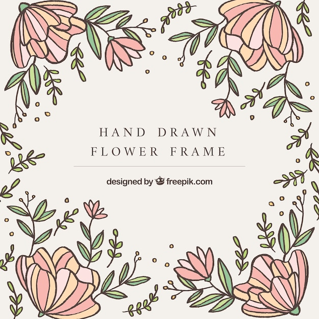 Hand drawn of frame with flowers Free Vector