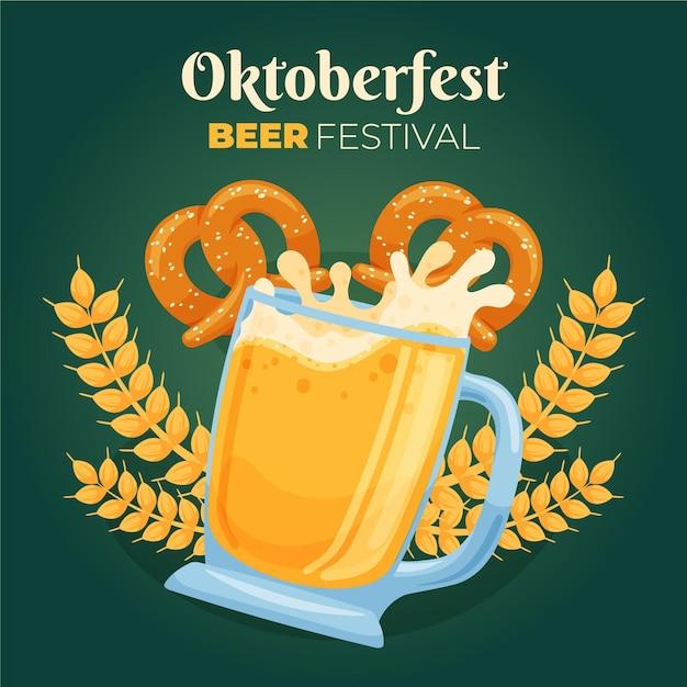 Ручной обращается октоберфест фон с пивом и кренделями Бесплатные векторы