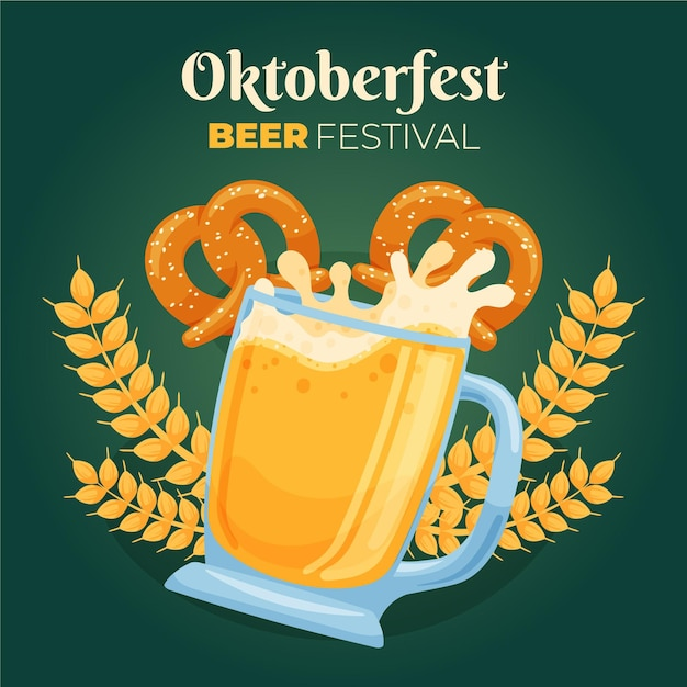 Hand drawn oktoberfest background with beer and pretzels Free Vector