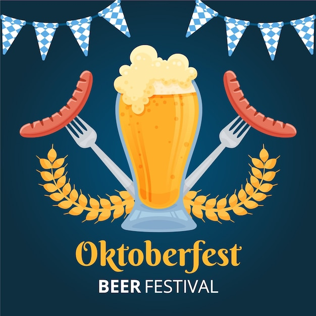 Hand drawn oktoberfest background with beer and wursts Free Vector