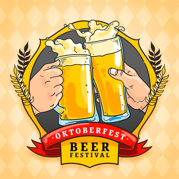 Hand drawn oktoberfest background with beer Free Vector