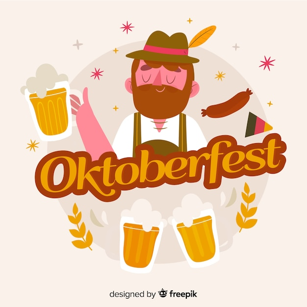 Hand drawn oktoberfest background with character Free Vector