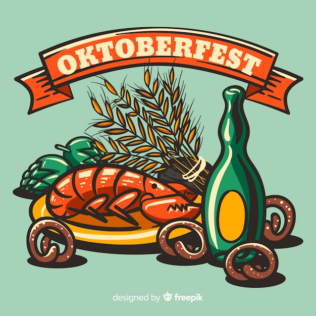 Hand drawn oktoberfest background with elements Free Vector