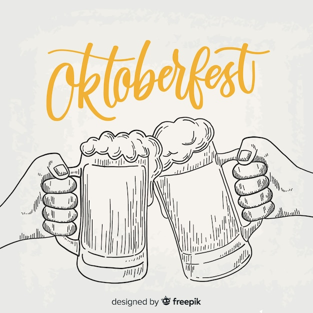 Hand drawn oktoberfest background with jars of beer Free Vector