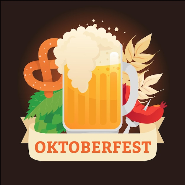 Hand drawn oktoberfest background with pint and pretzel Free Vector