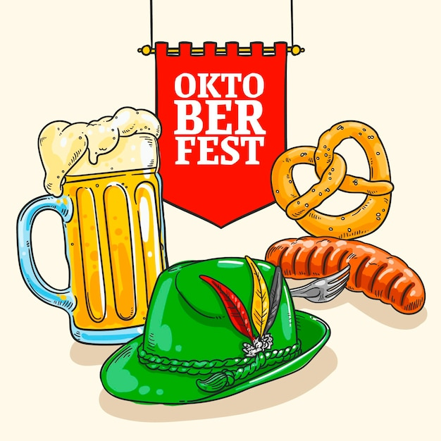 Hand drawn oktoberfest background with pint and wurst Free Vector