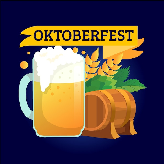 Hand drawn oktoberfest background with pint Free Vector