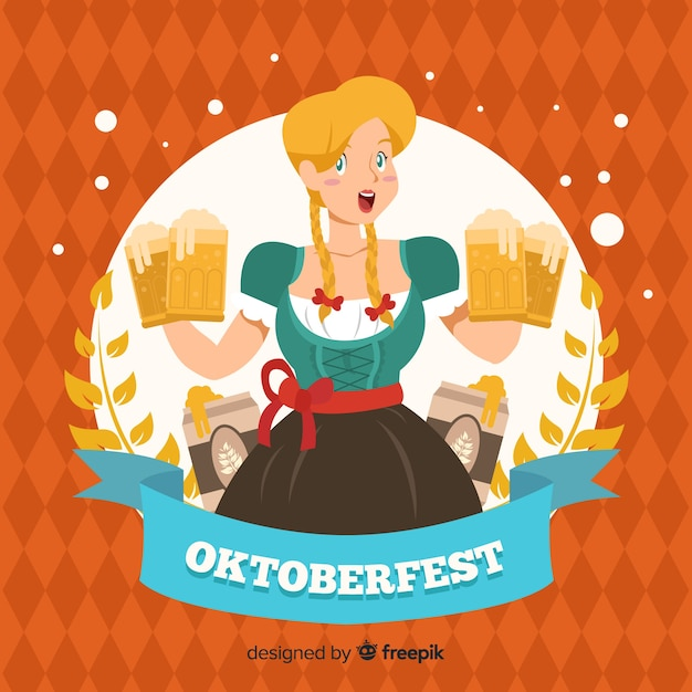 Hand drawn oktoberfest background with a woman Free Vector