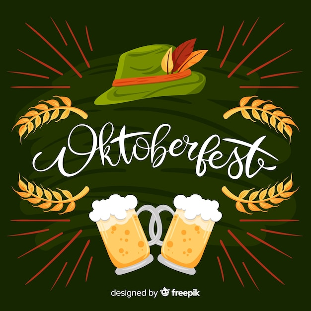 Hand drawn oktoberfest background Free Vector
