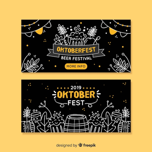 Hand drawn oktoberfest banners template Free Vector