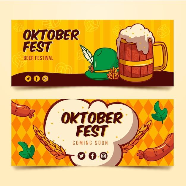 Bandiere più oktoberfest disegnate a mano Vettore gratuito