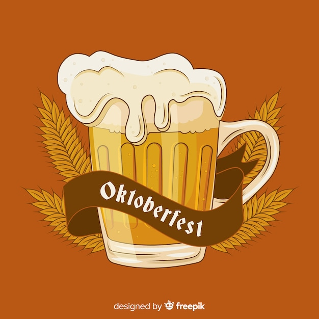 Hand drawn oktoberfest beer draft with wheat Free Vector