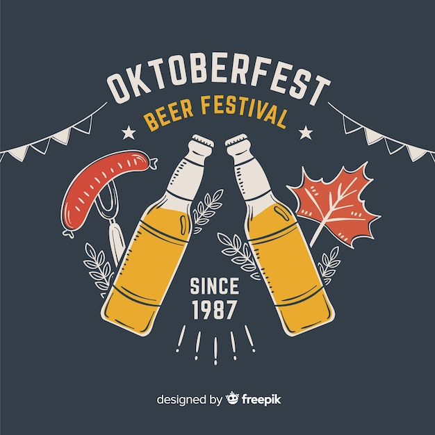 Hand drawn oktoberfest beer festival with bottles Free Vector