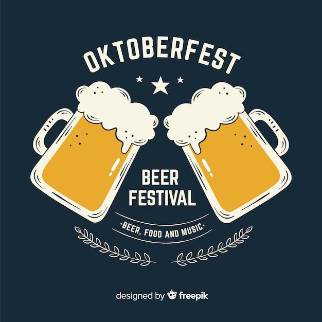 Hand drawn oktoberfest beer festival Free Vector
