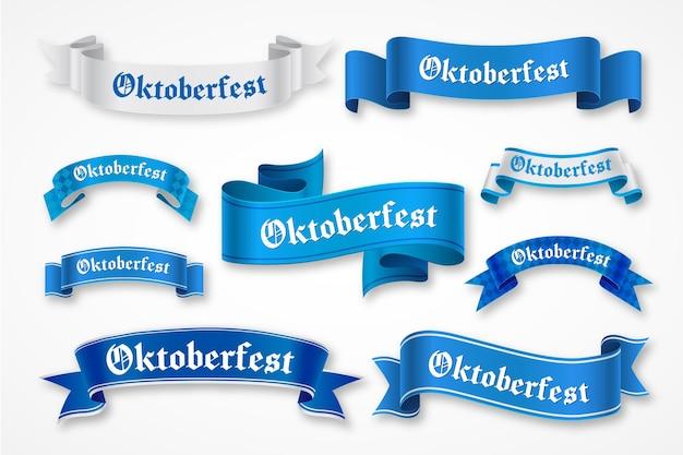 Hand drawn oktoberfest blue ribbons Premium Vector