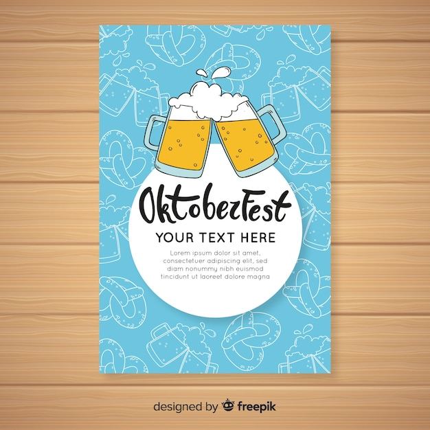 Hand drawn oktoberfest cover template Free Vector