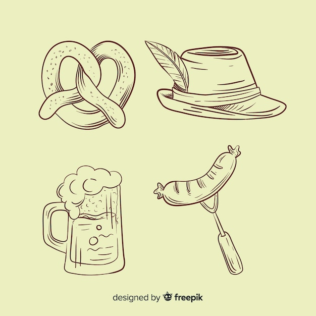 Hand drawn oktoberfest element collection in pencil Free Vector