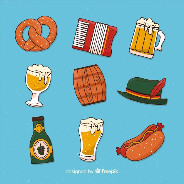 Hand drawn oktoberfest element collection Free Vector