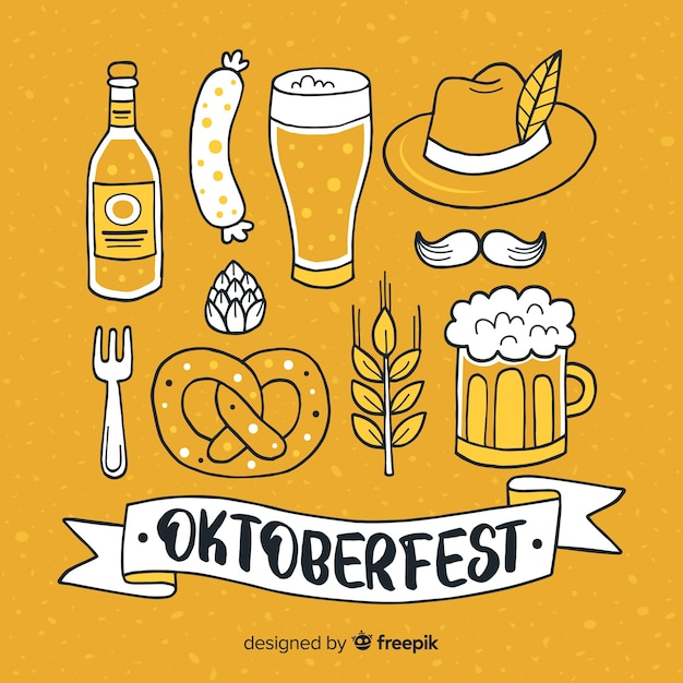 Hand drawn oktoberfest elements collection Free Vector