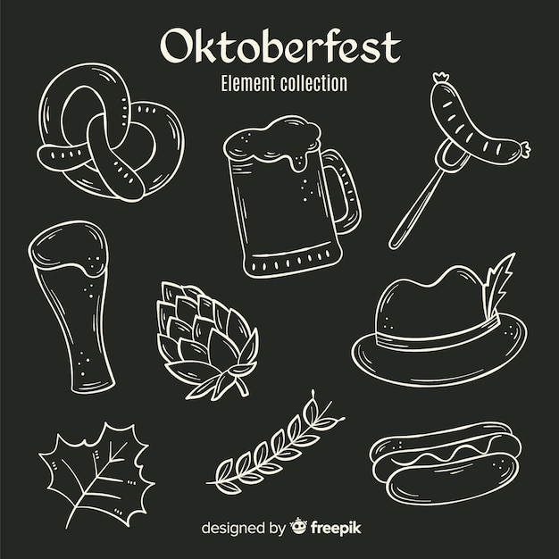 Hand drawn oktoberfest elements Free Vector