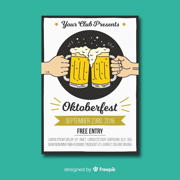 Hand drawn oktoberfest flyer template Free Vector