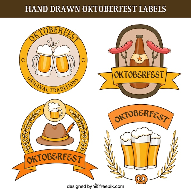 Hand-drawn oktoberfest labels Vector | Free Download