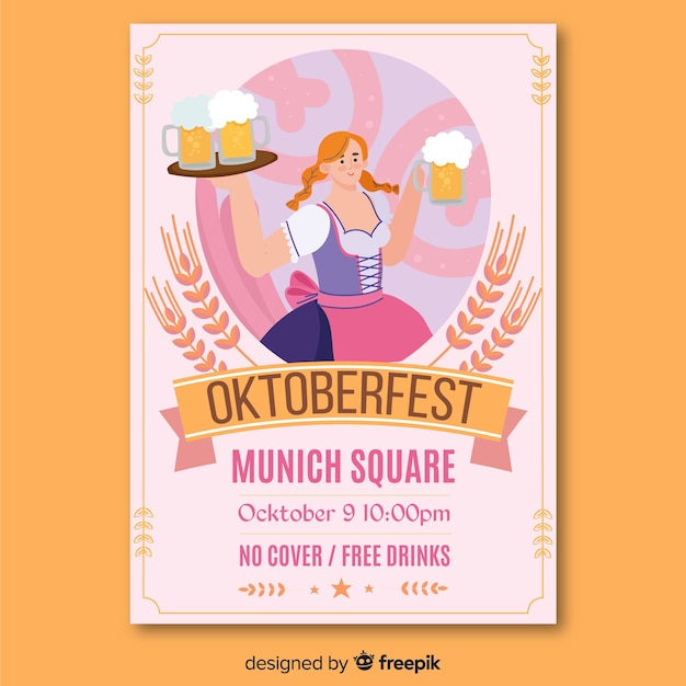 Hand drawn oktoberfest paper advertising Free Vector