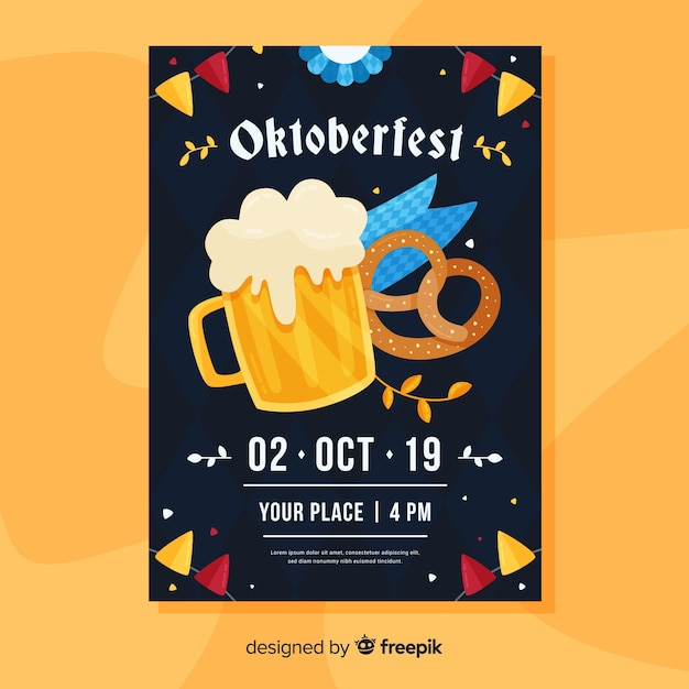 Hand drawn oktoberfest poster template Free Vector