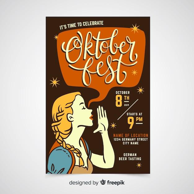 Hand drawn oktoberfest poster template Free Vector