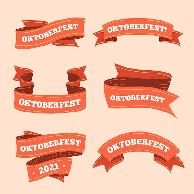 Nastri più oktoberfest disegnati a mano Vettore gratuito