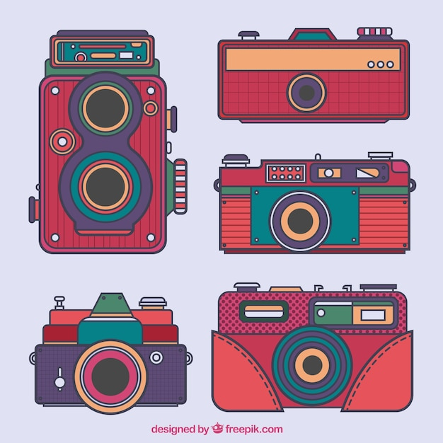 Hand drawn old cameras collection