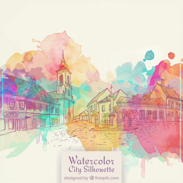 Hand drawn old city background with watercolor stains Free Vector