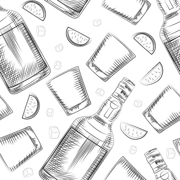 Ручной обращается старомодный стакан, лайм, бутылка алкоголя и кубик льда бесшовный фон Premium векторы