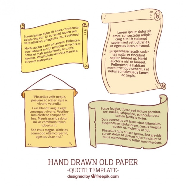 Hand drawn old papers Free Vector