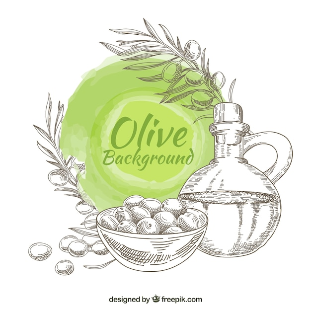 Hand-drawn olive background with round stain in green tones Free Vector