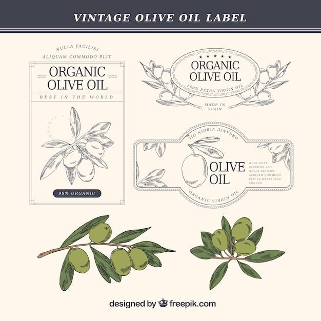 Ручной тяге оливкового масла этикетки в винтажном стиле Premium векторы