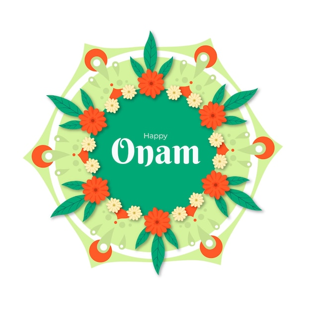 Hand drawn onam floral decoration Free Vector