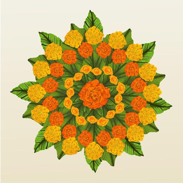 Decorazione floreale onam disegnata a mano Vettore gratuito