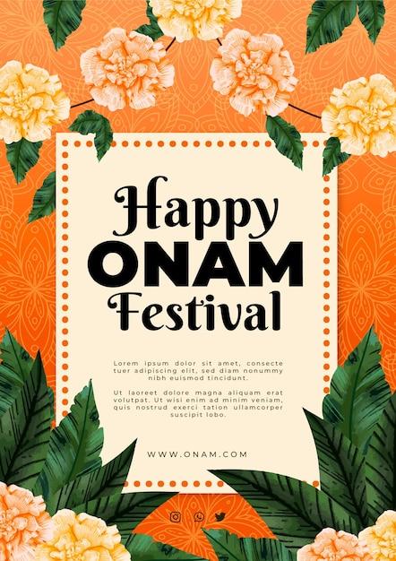 Hand drawn onam poster Free Vector
